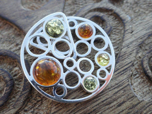 BALTIC AMBER PENDANT In Sterling Silver (Cognac Amber, Green amber, Lemon Amber) Includes Free Silver Chain* - Earth Family Crystals