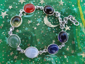 Beautiful CHAKRA BRACELET In Sterling Silver *  (Citrine, Garnet, Carnelian, Aventurine, Blue lace agate, Lapis Lazuli, Amethyst) - Earth Family Crystals