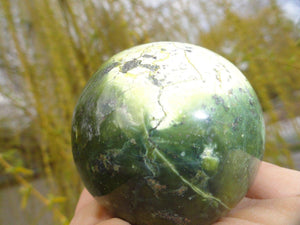 Beautiful Forest & Lime Green SERPENTINE SPHERE With PYRITE Veins* - Earth Family Crystals