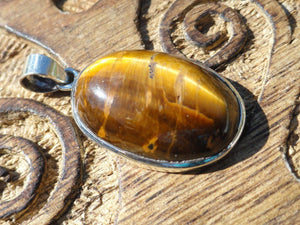 TIGER EYE PENDANT In Sterling Silver * Includes Free Silver Chain - Earth Family Crystals