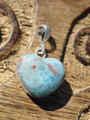Divine Dark Blue & Red LARIMAR HEART PENDANT In Sterling Silver (Includes Free Silver Chain) - Earth Family Crystals