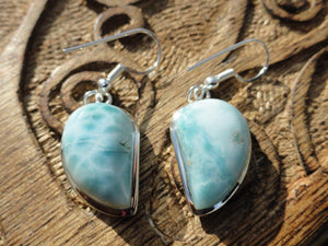 Ocean Blue LARIMAR EARRINGS~Ultimate Goddess Energy, Calms fears, Relieves stress.* - Earth Family Crystals