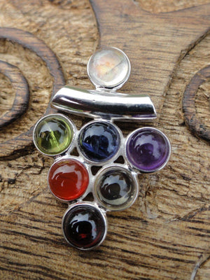 CHAKRA Gemstone Pendant In Sterling Silver * Includes Free Silver chain - Earth Family Crystals