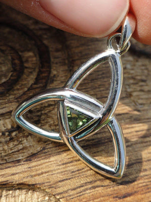 High Quality MOLDAVITE TRIQUETRA Sterling Silver Pendant * Includes Free Silver Chain* - Earth Family Crystals