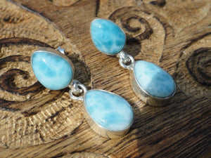 High Quality Caribbean Blue LARIMAR EARRINGS In Sterling Silver~ The Dolphin Stone* - Earth Family Crystals