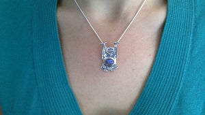 Laughing BUDDHA PENDANT With Blue LABRADORITE Stone In Sterling Silver* Includes Free Silver Chain - Earth Family Crystals