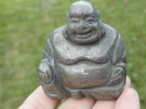 Laughing  BUDDHA  PYRITE CARVING* - Earth Family Crystals