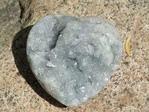 Sparkling Baby Blue CELESTITE GEODE HEART* - Earth Family Crystals