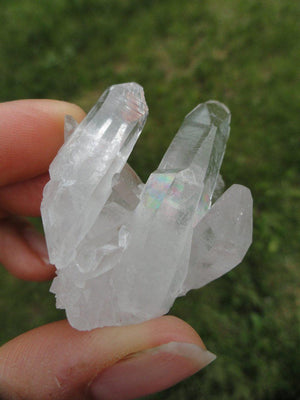 Self Healed Arkansas CLEAR QUARTZ CLUSTER With Mega Rainbows* Hippie healing Reiki New age Quartz - Earth Family Crystals