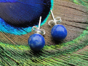 Handmade LAPIS LAZULI STUD Earrings In Sterling Silver* (6mm) - Earth Family Crystals