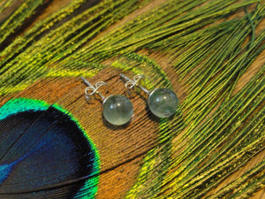Handmade Green FLUORITE STUD EARRINGS In Sterling Silver (6mm)* - Earth Family Crystals