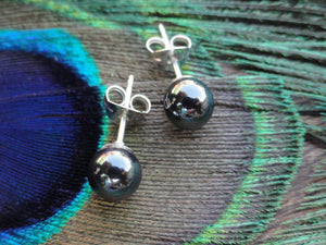 Handmade HEMATITE Sterling Silver Stud Earrings (6mm) - Earth Family Crystals