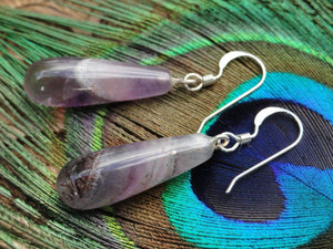 "Gorgeous Purple Tear-drop ""AURALITE-23"" Dangle Earrings In Sterling Silver - Earth Family Crystals"