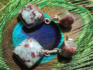 Rare Blood Red & Ocean Blue LARIMAR EARRINGS In Sterling Silver~* Ultimate Goddess Energy, Calms fears, Relieves stress.* - Earth Family Crystals