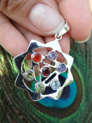 Gorgeous CHAKRA PENDANT With Faceted Gemstones in Sterling Silver (Includes Free Silver Chain) - Earth Family Crystals