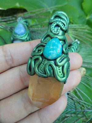 Striking TANGERINE QUARTZ & Arizona TURQUOISE Handmade Pendant* Reiki Crystal Healing Magic Hippie - Earth Family Crystals