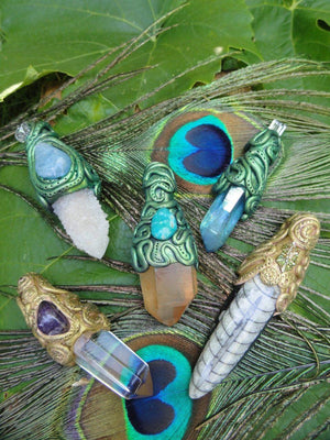 Stunning AQUA AURA Quartz & DANBURITE Handmade Pendant*Reiki Crystal Healing Magic Hippie - Earth Family Crystals