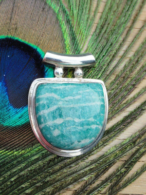 Gorgeous Blue AMAZONITE PENDANT In Sterling Silver ~Enhancing loving communication, Healing (Includes Free Silver Chain) - Earth Family Crystals