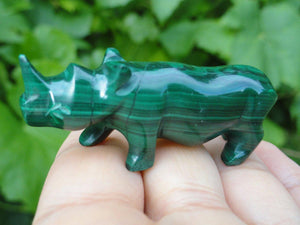 Precious Green MALACHITE RHINOCEROS Self Standing Carving* Hippie Healing Reiki Magic - Earth Family Crystals