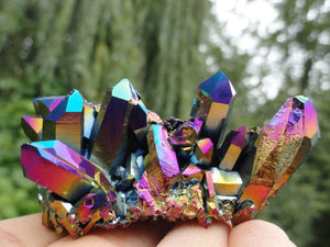 Stunning ~Flashy  Rainbow Display TITANIUM QUARTZ CLUSTER* Hippie Healing Reiki Magic New Age - Earth Family Crystals