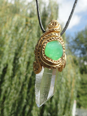 "The Ultimate ""Nature Spirit"" Handmade Pendant~ Green Ray CHRYSOPRASE & Ice Water Clear Arkansas CLEAR QUARTZ* Hippie Healing Reiki Magic - Earth Family Crystals"