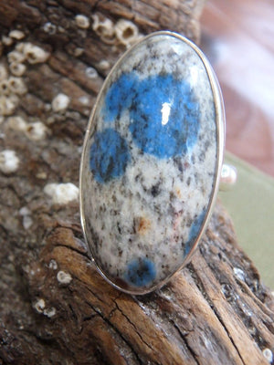 Chunky Poppy Blue Patterns K2 Stone  Ring In Sterling Silver (Size 8) - Earth Family Crystals