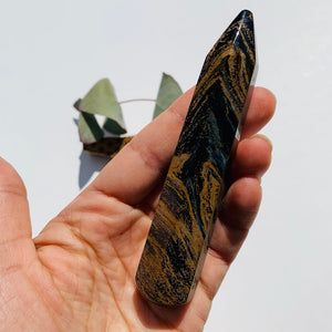Large Silky Blue & Gold Pietersite Wand Carving #2