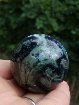 Green Orbs Kambaba Jasper Sphere Carving - Earth Family Crystals