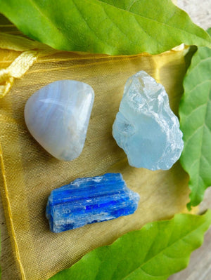 BLUE SERENITY CRYSTAL KIT~Includes Raw Celestite, Blue Kyanite Blade & Blue Lace Agate - Earth Family Crystals