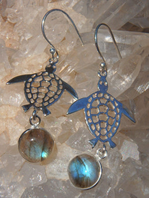 Adorable Labradorite Turtle Earrings in Sterling Silver - Earth Family Crystals