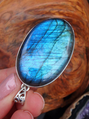 Reserved For Annie S. Chunky Statement Piece! Sea Foam Green Blue Labradorite Pendant In Sterling Silver  (Includes Silver Chain) - Earth Family Crystals