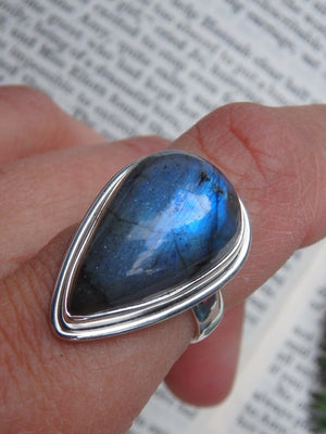 Teardrop Shaped Blue Labradorite  Ring In Sterling Silver (Size 7) - Earth Family Crystals
