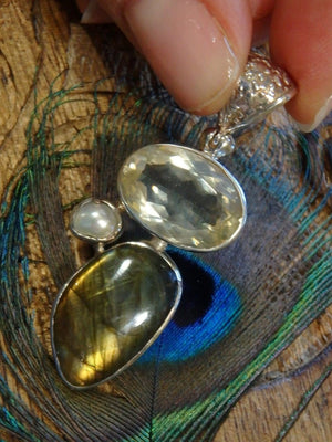 Custom Crafted! Faceted Gemmy Golden Labradorite & Blue Green Labradorite With Accent Pearl Pendant In Sterling Silver (Includes Silver Chain) - Earth Family Crystals
