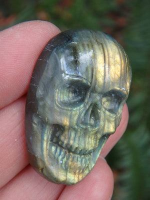 Golden Lightening Flashes Labradorite Skull Carving Cabochon (Ideal to Make Into Jewelry) - Earth Family Crystals