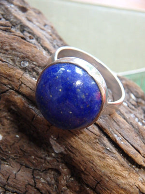 Cobalt Blue Moon Lapis Lazuli  Ring In Sterling Silver (Size 7.5) - Earth Family Crystals