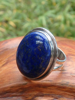 RESERVED FOR YIHAN~ Deep Azure Blue & Golden Chunky Lapis Lazuli Ring In Sterling Silver (Size 8.5) - Earth Family Crystals