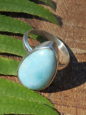 Blue Serenity Larimar Ring in Sterling Silver (Size 7) - Earth Family Crystals