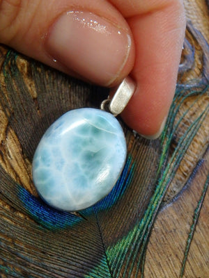 Pretty Patterns Blue  Larimar Pendant In Sterling Silver (Includes Silver Chain) - Earth Family Crystals