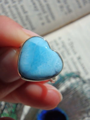 Larimar Blue Tranquility Heart Ring in Sterling Silver (Size 8) - Earth Family Crystals