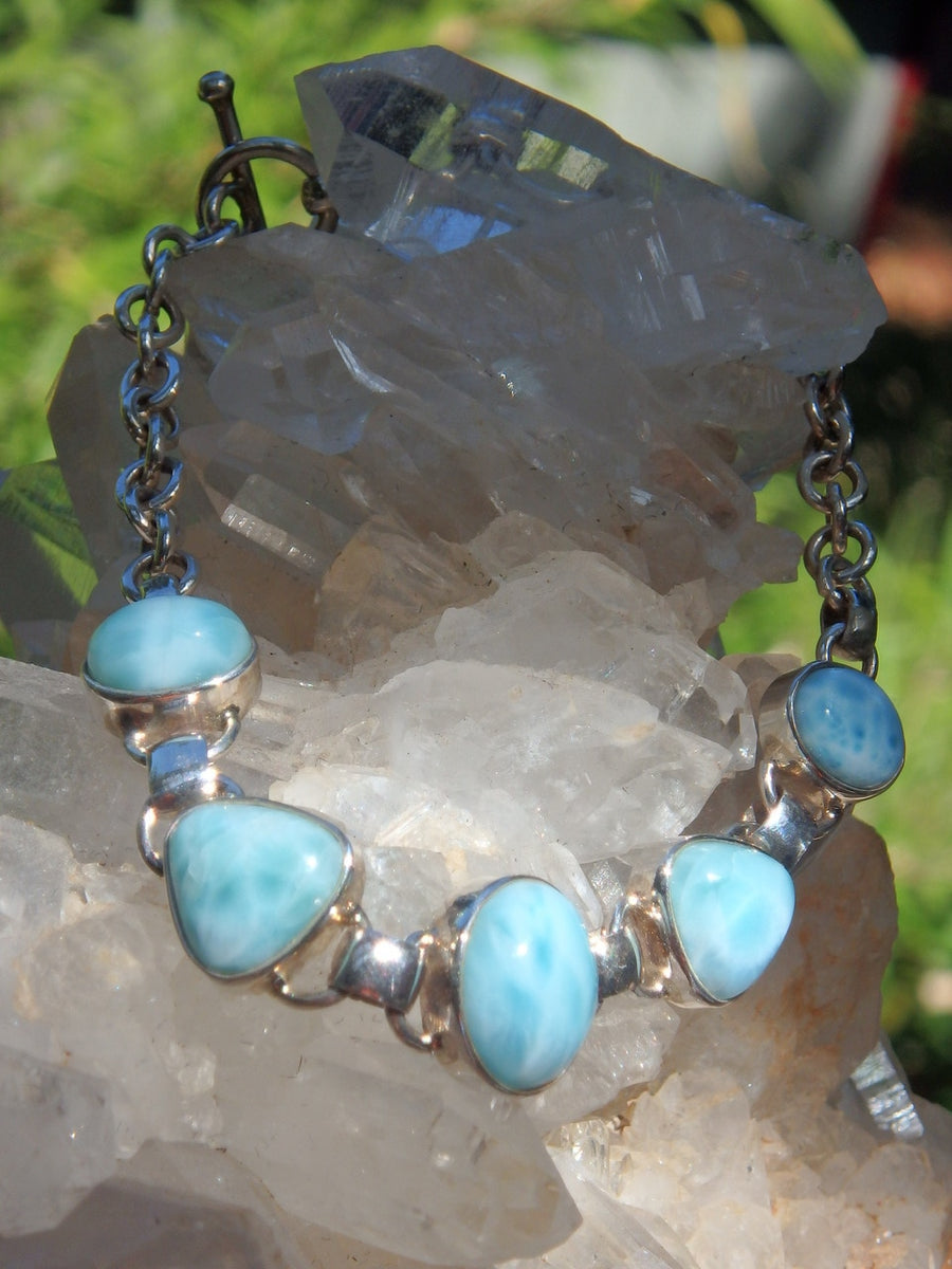 Exquisite Caribbean Blue Larimar Gemstone Bracelet in Sterling Silver (Adjustable Size 7-8 inches) - Earth Family Crystals