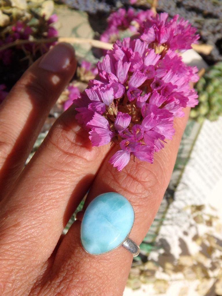 Gorgeous Sea Blue Larimar Gemstone Ring In Sterling Silver (Size 7.5) - Earth Family Crystals