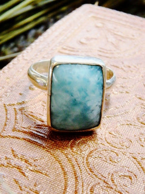 Gorgeous Blue Larimar Ring In Sterling Silver 4 (Size 8) - Earth Family Crystals
