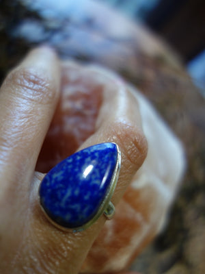 Pretty Cobalt Blue Lazurite Ring In Sterling Silver (Size 9.5 ) - Earth Family Crystals