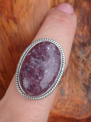 Hints of Sparkle Lepidolite Gemstone Ring in Sterling Silver (Size 8.5) - Earth Family Crystals