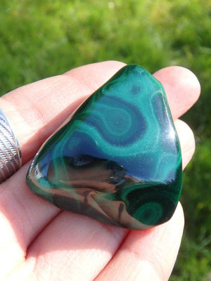 Adorable Dark Green Malachite Handheld Specimen - Earth Family Crystals