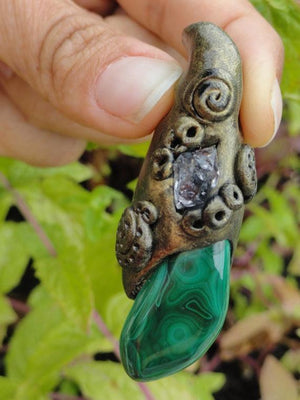 Swirly Green MALACHITE & Clear HERKIMER DIAMOND Handmade Energy Pendant* - Earth Family Crystals