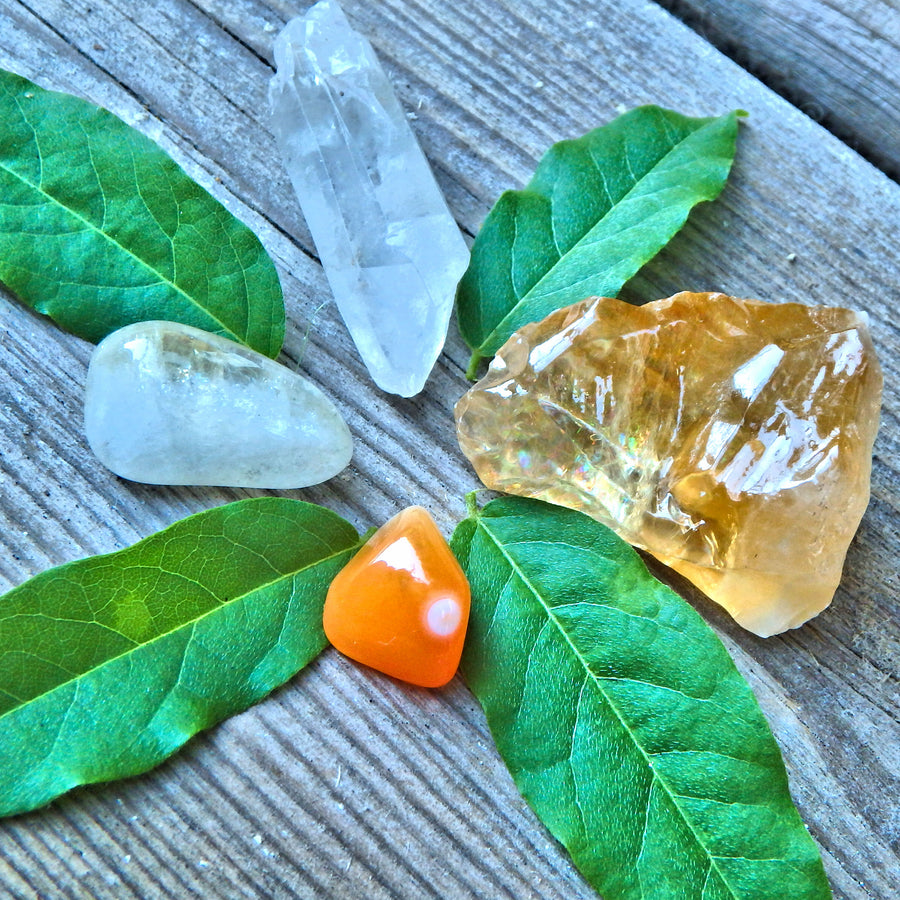 Manifestation Crystal Kit~Includes Golden Calcite, Carnelian, Clear Quartz Point, Citrine