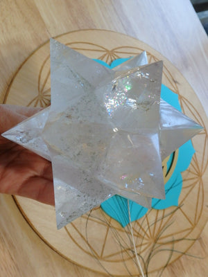 XL  12 Pointed Star Double Merkabah (Stellated Dodecahedron) Quartz  With Green Chlorite Inclusions - Earth Family Crystals