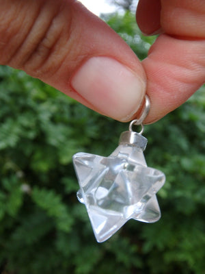 Sacred Geometry Merkaba Clear Quartz  Pendant (Includes Free Silver Chain) - Earth Family Crystals