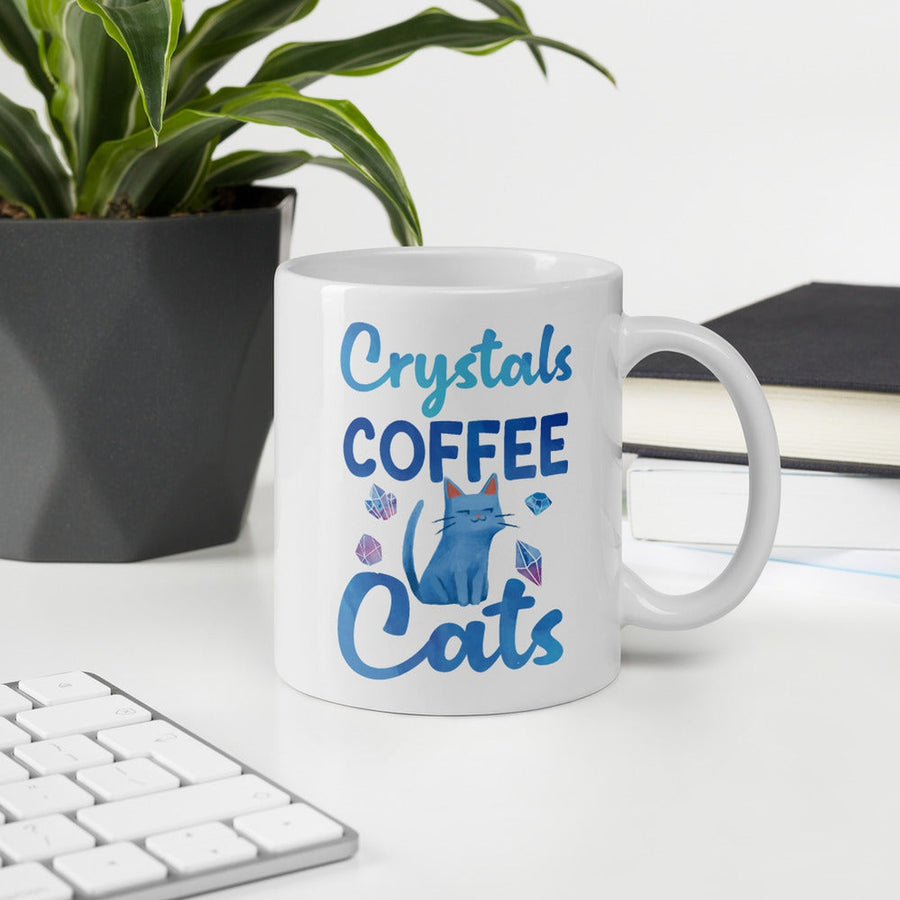 Crystals Coffee Cats White Mug